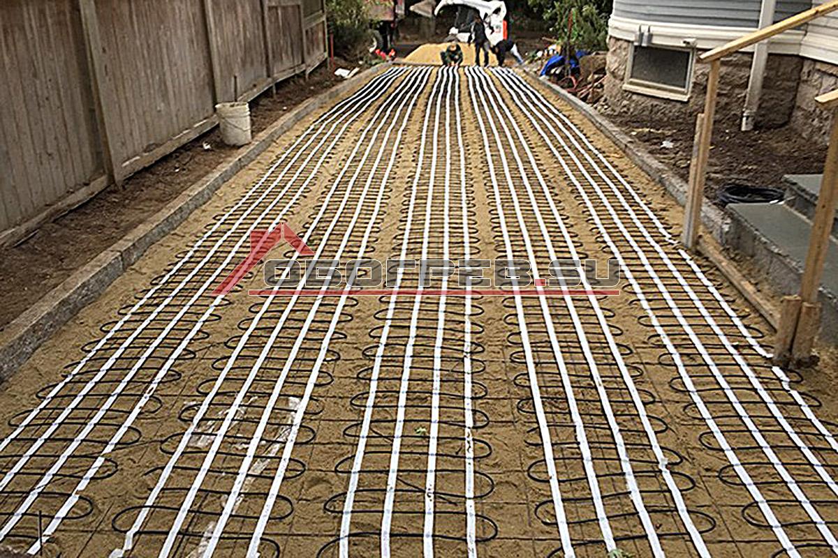 Монтаж греющего кабеля по грунту
